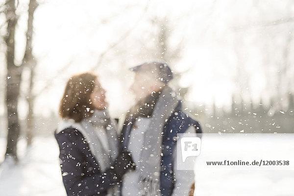 Schneefall und Seniorenpaar im Hintergrund