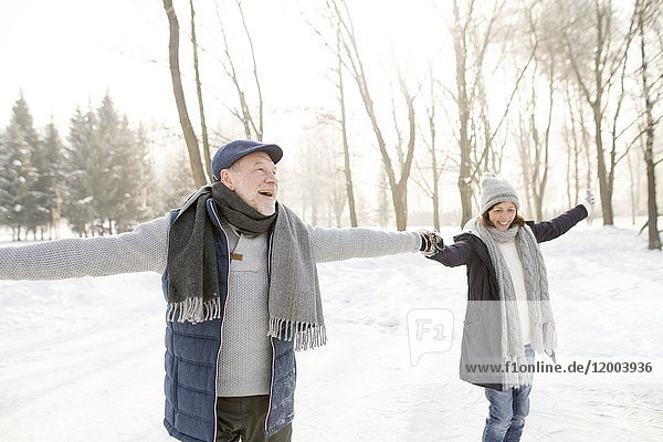 Happy senior couple ice skating