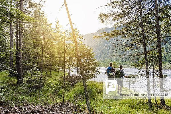Deutschland  Bayern  Rückansicht zweier Wanderer mit Rucksäcken