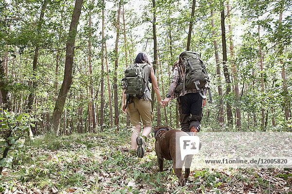 Paar mit Rucksack und Hund auf Wanderung im Wald