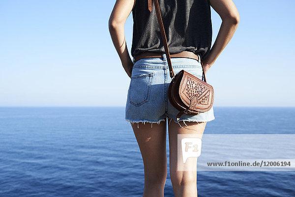 Rückansicht der Frau mit Blick aufs Meer  Teilansicht