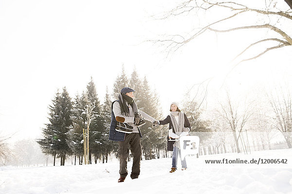 Seniorenpaar mit Schlittschuhlaufen in der Winterlandschaft