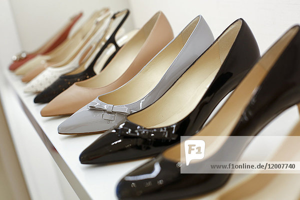 High heel shoes on display