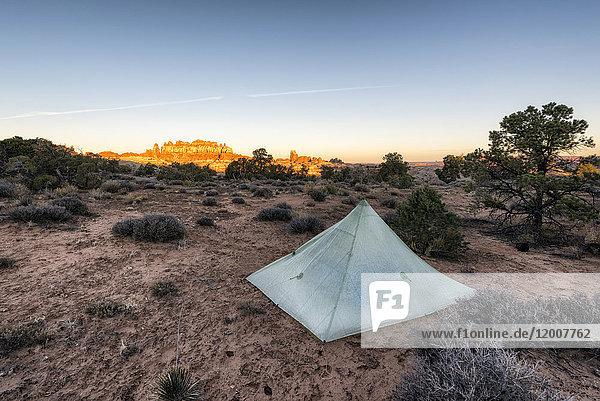 Tent in desert at sunset  Moab  Utah  United States