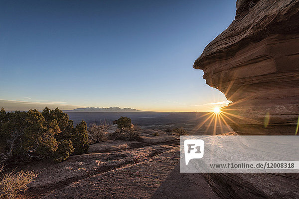 Sunset in canyon  Moab  Utah  United States