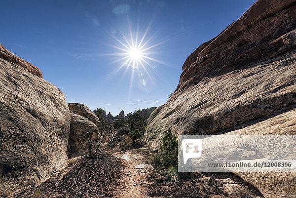 Sun in blue sky over desert path  Moab  Utah  United States