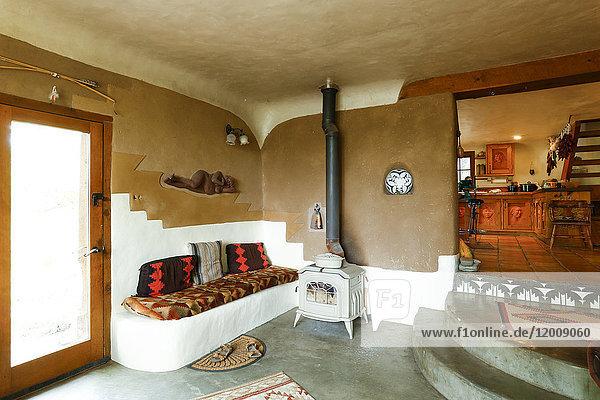 Wood-burning stove in livingroom