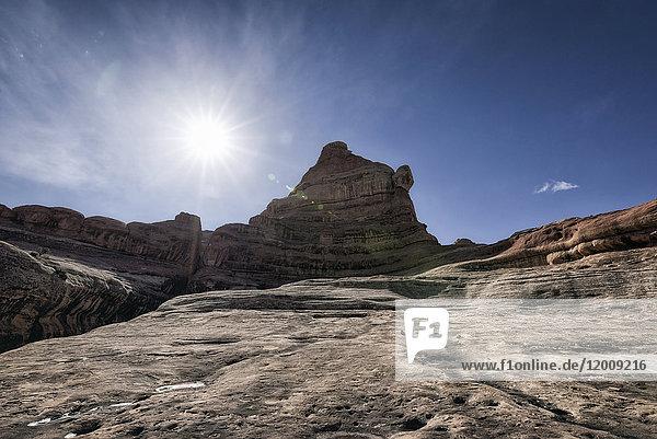 Sun over desert in Moab  Utah  United States