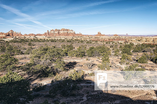Shadow of person admiring scenic view of desert  Moab  Utah  United States