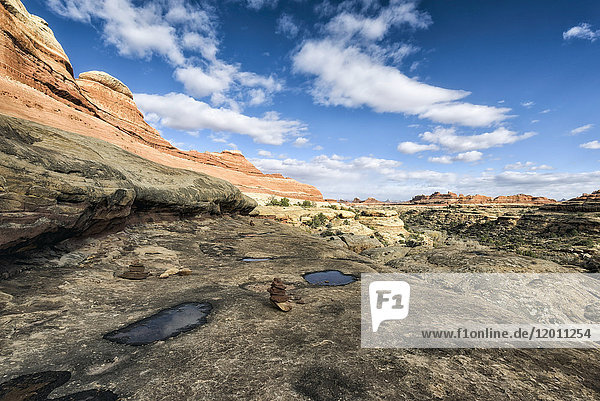 Clouds in blue sky over desert in Moab  Utah  United States