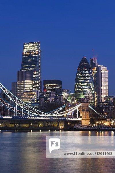 England  London  Tower Bridge and City Skyline