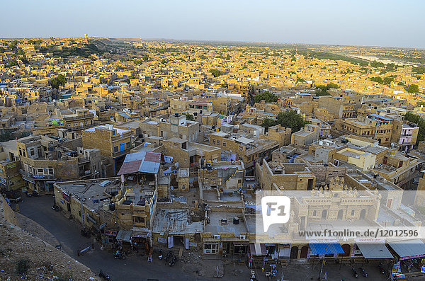 Aerial view of town in Rajasthan  India.