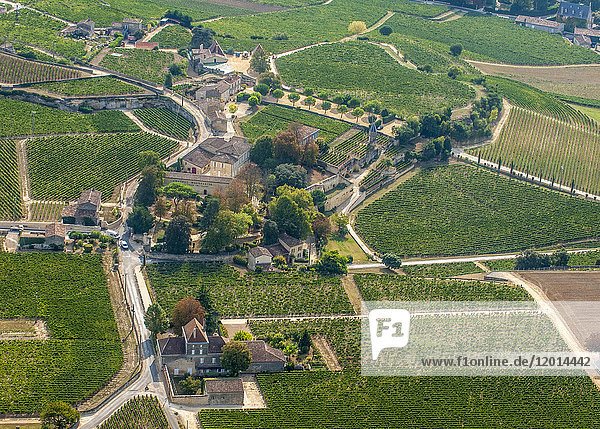 France  Gironde  aerial view of the Chateau Clos la Magdeleine and its AOC St Emilion vineyard (UNESCO World Heritage)