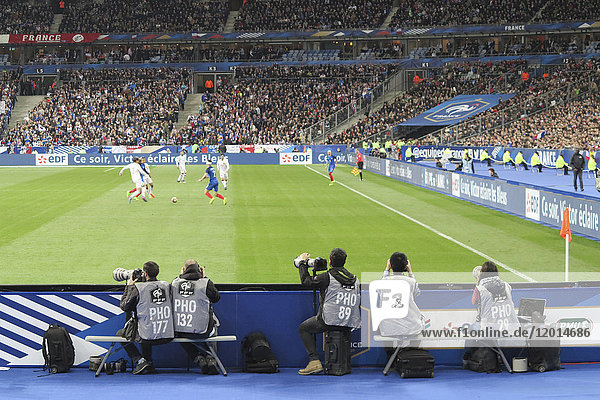 Seine Saint Denis. St Denis. Stade de France. Friendly match France Spain (2017). View of the photographers in the field.
