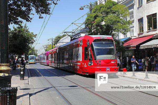 Turkey  Istanbul (municipality of Fatih)  district of Cemberlitas  the tram in the street Divan yolu