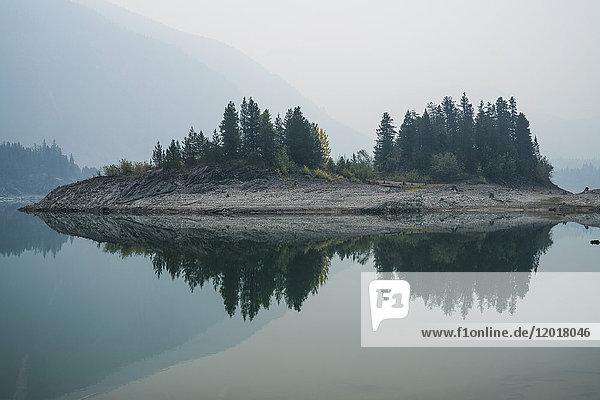 Bäume auf dem Feld spiegeln sich am ruhigen See bei nebligem Wetter  Whistler  British Columbia  Kanada Bäume auf dem Feld spiegeln sich am ruhigen See bei nebligem Wetter, Whistler, British Columbia, Kanada