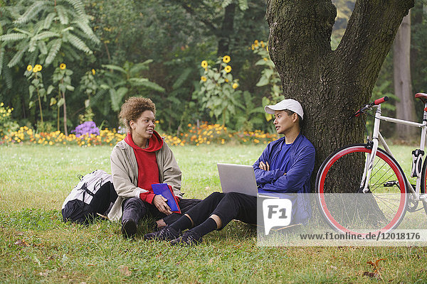 Mann mit Laptop im Gespräch mit einem Freund  während er auf einer Wiese im Park sitzt.