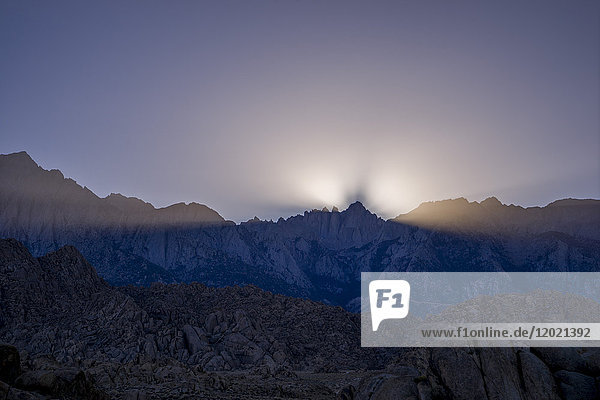 USA  California  Lone Pine  Alabama Hills at twilight