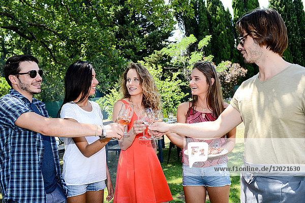 Groupe of happy and cheerful young people having a toast around barbecue grill during summer holiday party outdoor in the garden. Groupe of happy and cheerful young people having a toast around barbecue grill during summer holiday party outdoor in the garden.