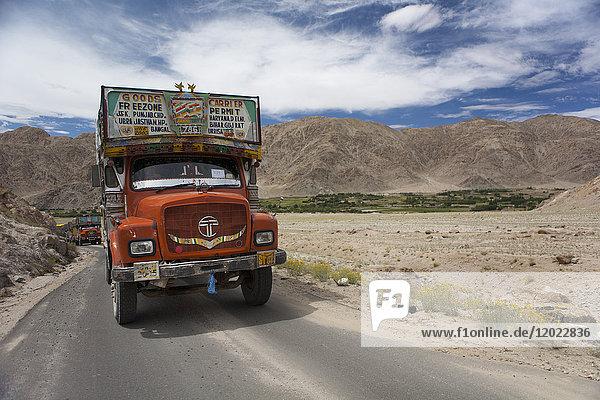 Truck on the Pangong lake road between Kamu and Chemrey  Ladakh  India
