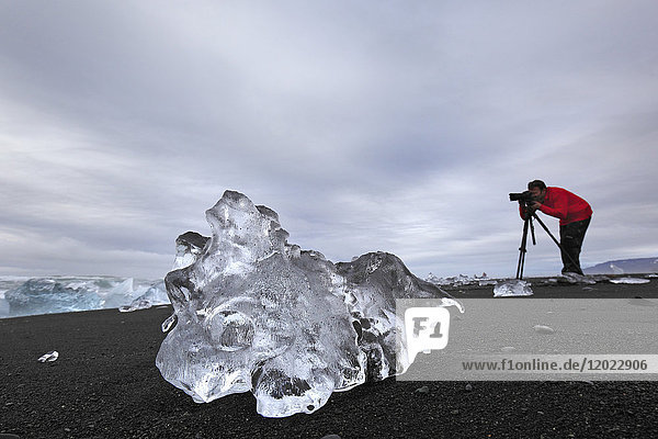 Iceland  chunks of ice on the shore of Jokussarlon