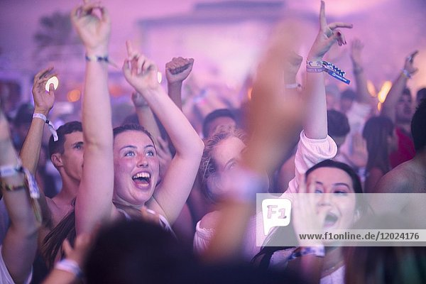 Party crowd at music festival Starbeach  beach flirt dress in white party  on 17. July 2017 with Afrojack and Hardwell in Hersonissos  Crete  Greece