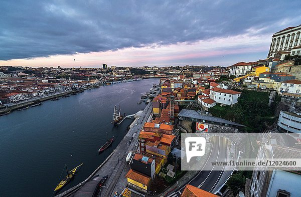 Douro River and Old Part of Porto city (right) on Iberian Peninsula  second largest city in Portugal. Vila Nova de Gaia city on left.