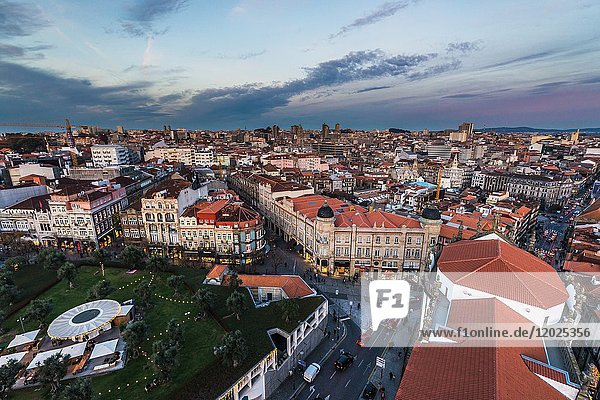 Lisbon Square seen from bell tower of Clerigos Church in Porto  second largest city in Portugal.