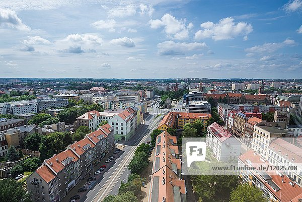 Szczecin cityline - view view from bell tower of Cathedral Basilica of St James the Apostle  West Pomerania Province in Poland.
