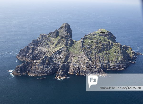 Bird view from a helicopter from the Skellig Islands  County Kerry  Ireland  Europe.