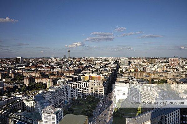 Stadtansicht in Richtung Osten  Ausblick vom Kollhoff Tower  Berlin  Deutschland  Europa