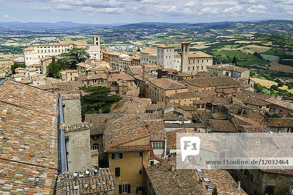 Top view of the old village  Todi  Umbria  Italy  Europe