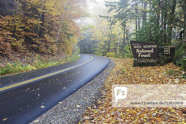 Entering the White Mountain National Forest sign along Tripoli Road in Thornton  New Hampshire USA during the autumn months.