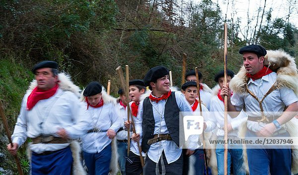 'Las Marzas' (traditional songs celebrating the arrival of spring)  Soba Valley  Cantabria  Spain  Europe.
