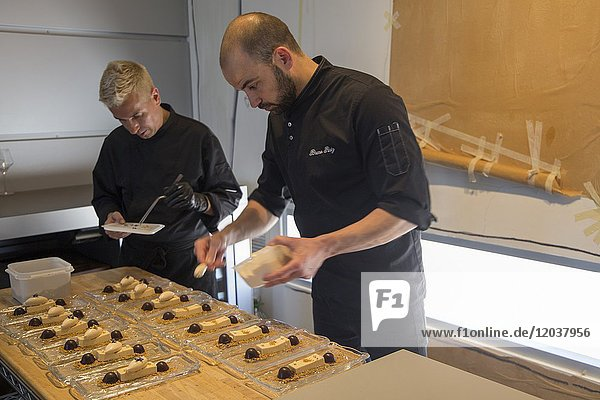 Chef in kitchen at restaurant Denia Spain on May 13  2017 Bruno Ruiz is a famous cook in Spain.
