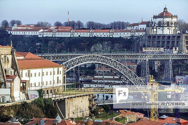 Dom Luis I Bridge and Serra do Pilar Monastery in Vila Nova de Gaia city. View from Porto city  Portugal.
