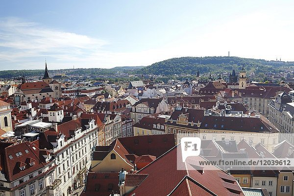 View from the Old Town Hall Tower on the historic centre  Prague  Czech Republic  Europe