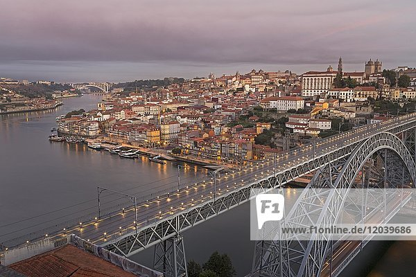 Old town and bridge  arched bridge Ponte Dom Luís I over the Douro  Porto  Portugal  Europe