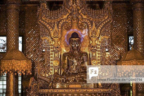 Buddha statue in the Botataung Pagoda  Rangoon  Myanmar  Asia