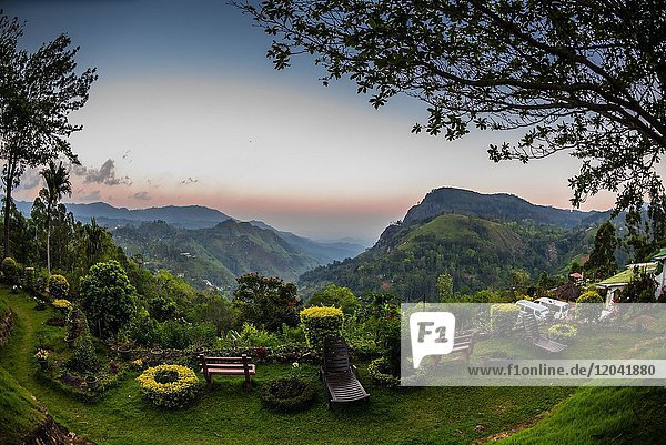 View of Ella Rock and the Ella Gap from the Ambiente Guest House  Ella  Uva Province  Sri Lanaka.