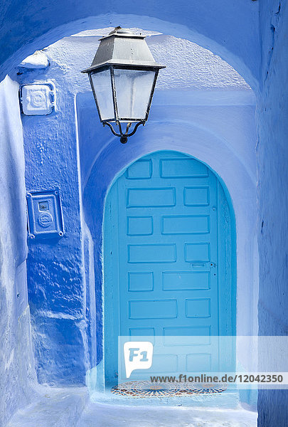Blue door and wall in the old town of Chefchaouen (Chaouen) (The Blue City)  Morocco  North Africa  Africa