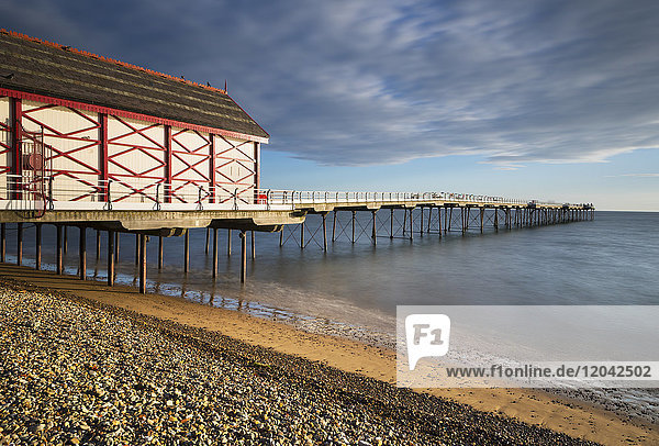 The Victorian pier and beach shortly after sunrise at Saltburn on the east coast  North Yorkshire  England  United Kingdom  Europe