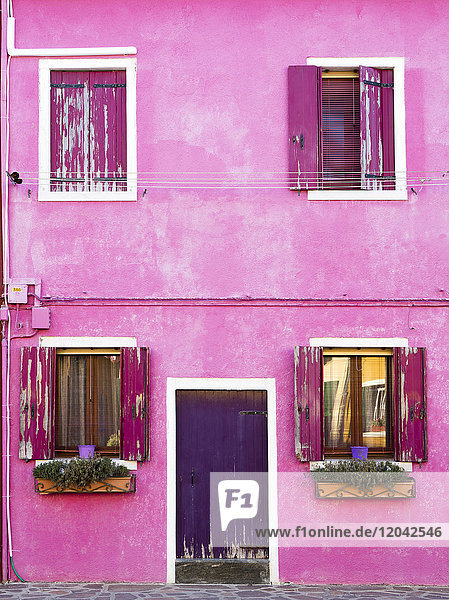 Detail of colourful painted building  island of Burano  Venice  Veneto  Italy  Europe