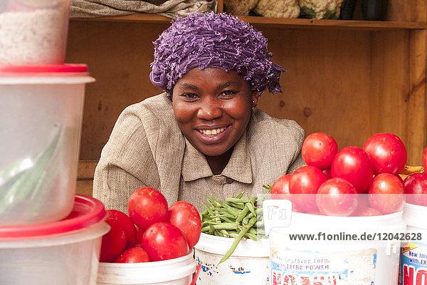 A lady selling vegetables in Kigali  Rwanda  Africa