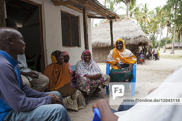 A group of women involved in a meeting about their village  Tanzania  East Africa  Africa