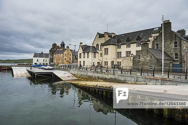 Seafront of Lerwick  capital  of Shetland Islands  Scotland  United Kingdom  Europe
