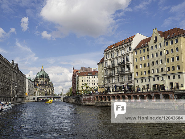 View towards the Cathedral from the River Spree  Berlin  Germany  Europe