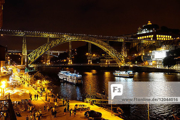 Ponte de Dom Luis I over River Douro at night  Porto (Oporto)  Portugal  Europe