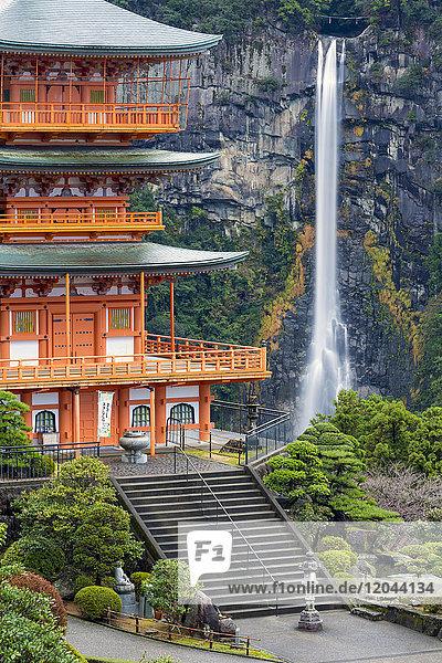 Nachisan Seiganto-ji pagoda at Kumano Nachi Shrine with Nachi Falls in the background  Wakayama  Japan  Asia