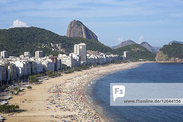 Copacabana beach and Sugar Loaf  Rio de Janeiro  Brazil  South America
